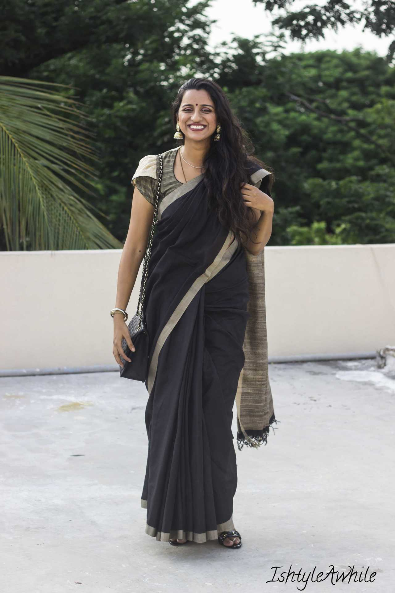 IshtyleAwhile - How to style a black sari