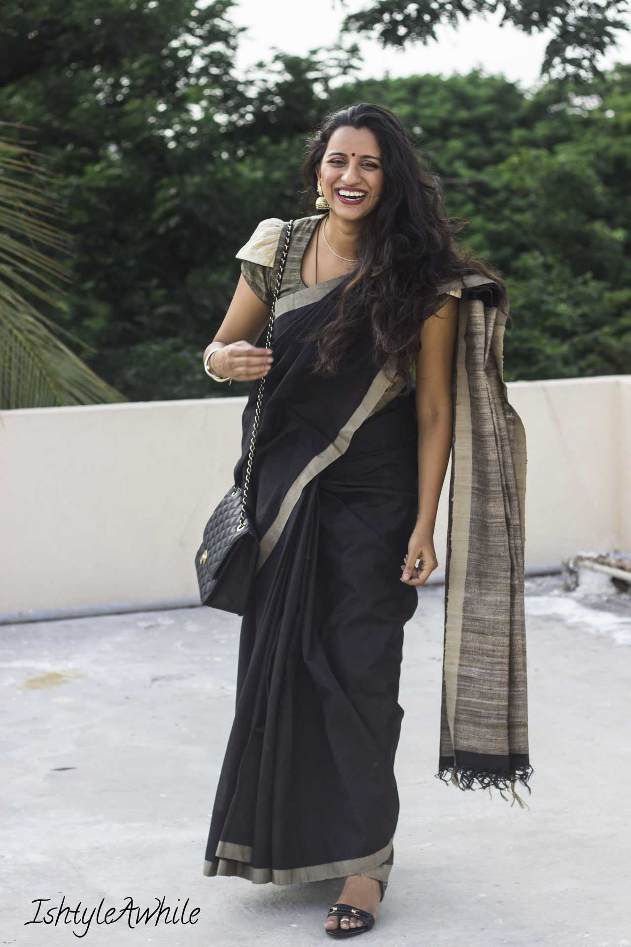 IshtyleAwhile - How to style a black saree