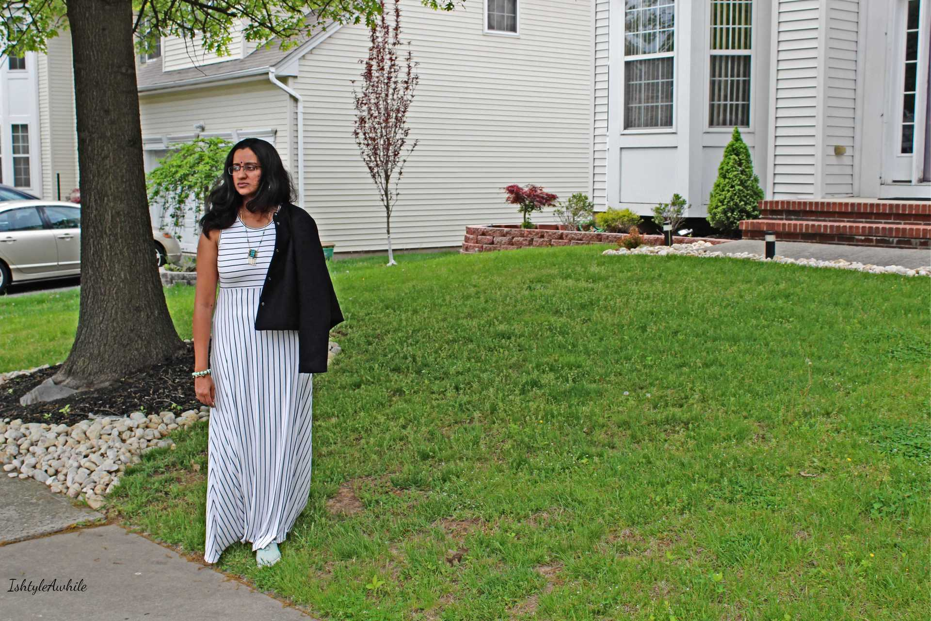 IshtyleAwhile - Styling a white and black striped maxi
