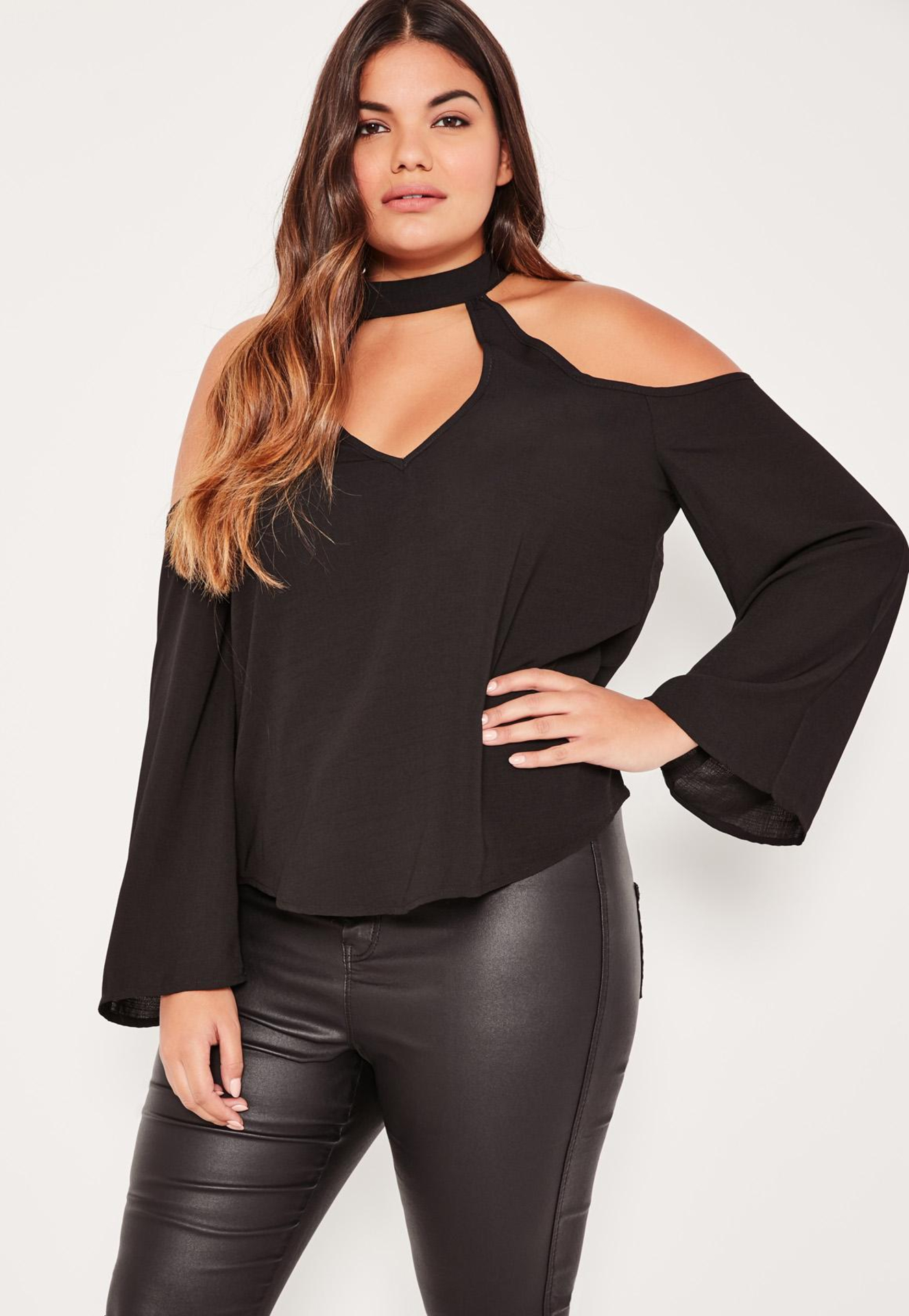_Girlinskinnyfit_ - plus-size-black-choker-neck-cold-shoulder-blouse