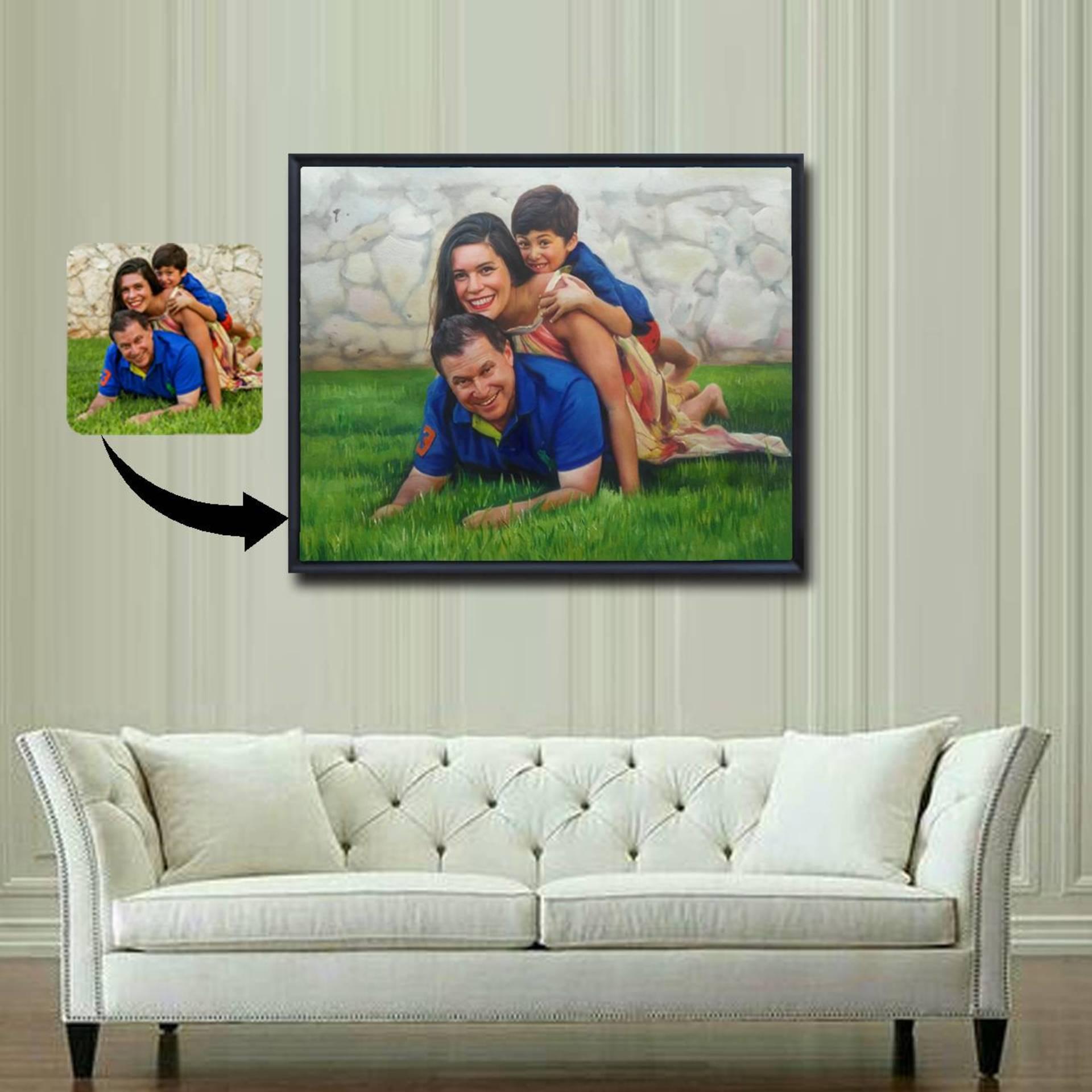 My Little Corner - family oil portrait