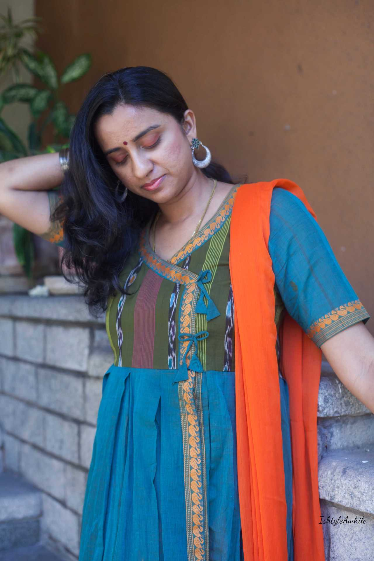 IshtyleAwhile - A Chennai based Indian Fashion Blog - green angrakha cotton kurta