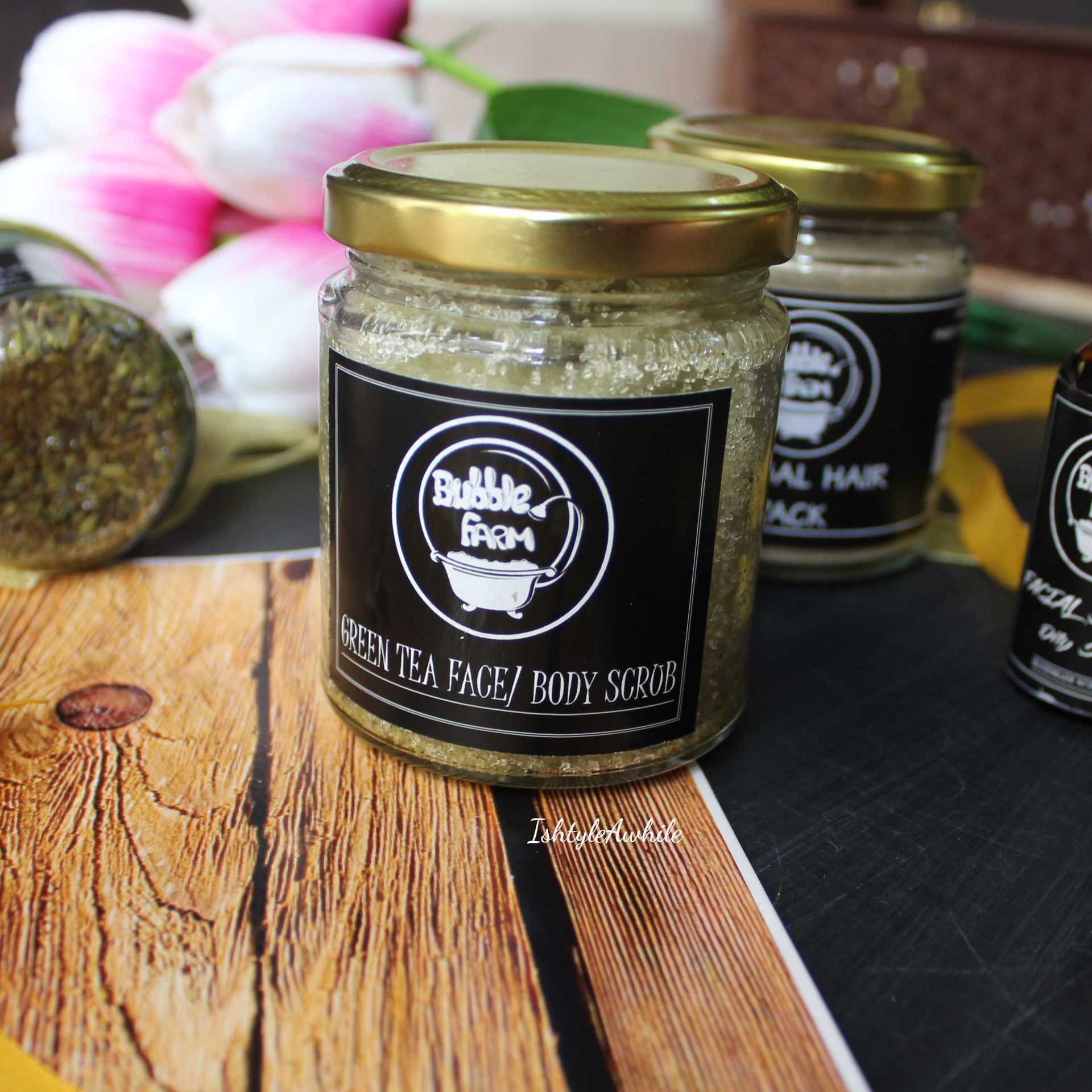 IshtyleAwhile - A Chennai based Indian Fashion Blog - Green tea face and body scrub bubble farm