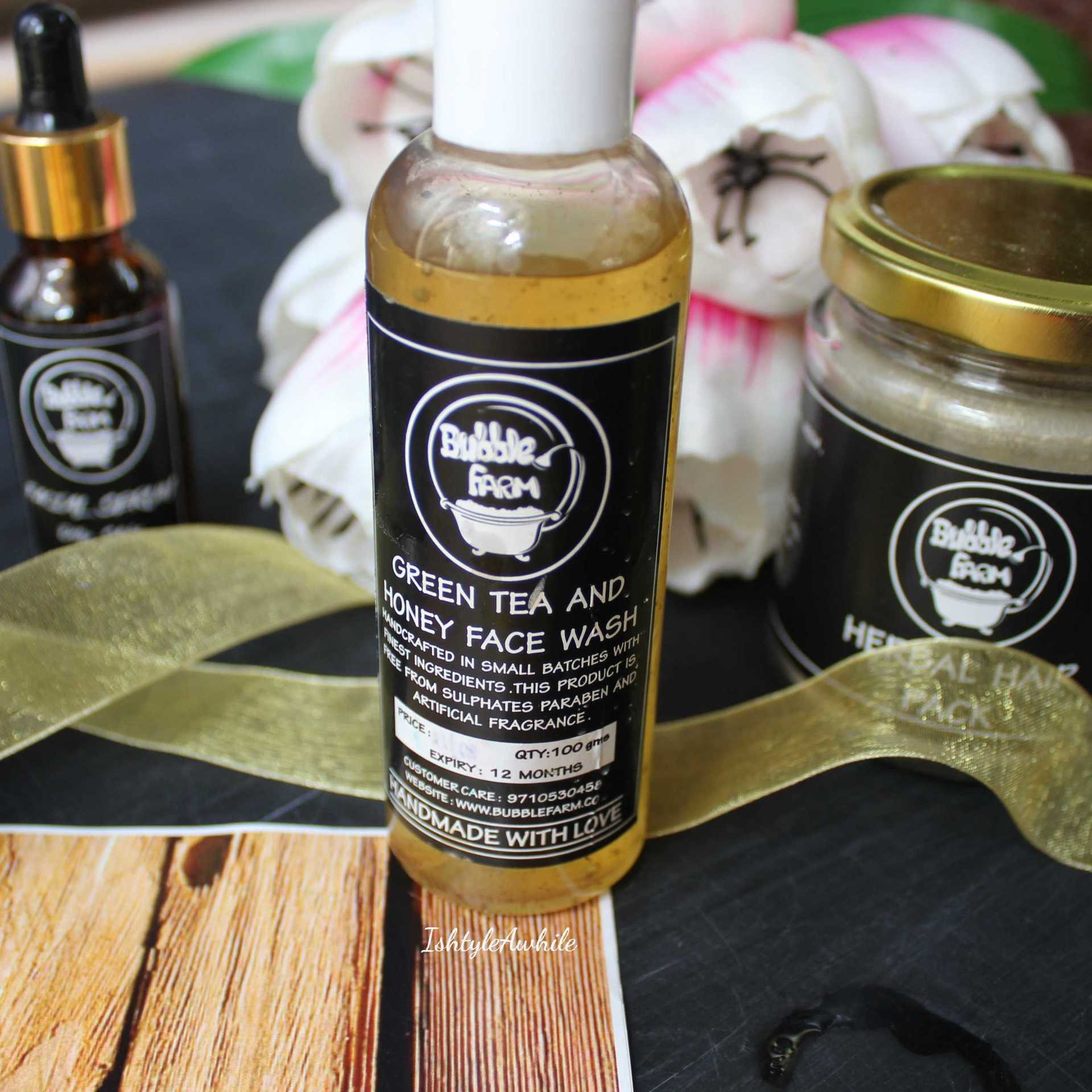 IshtyleAwhile - A Chennai based Indian Fashion Blog - green tea and honey facewash from bubblefarm products
