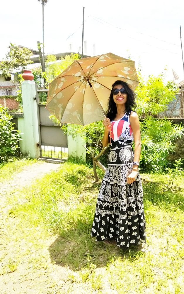 My summer fashion with an umbrella image