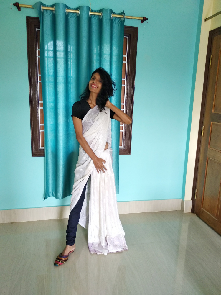 allboutfashion-A unique style by draping a saree over a pair of jeans
